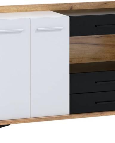 Box 02 - Komoda 2D3S, craft zlatý/bílá/černá