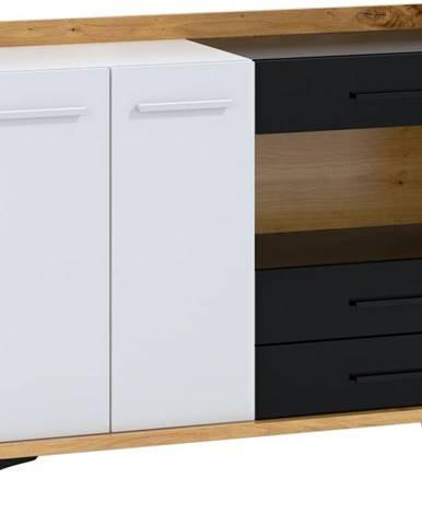 Box 02 - Komoda 2D3S, dub artisan/bílá/černá