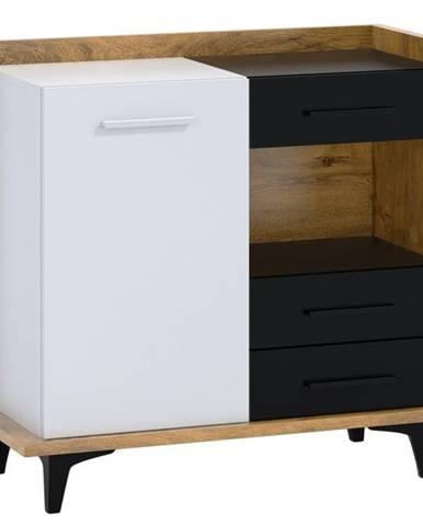 BOX01 – komoda 1D3S, dub burgundský/bílá/černá
