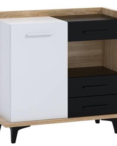 BOX01 – komoda 1D3S, dub sonoma/bílá/černá