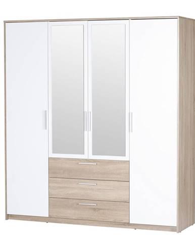 MILO, šatní skříň, dub sonoma/bílá