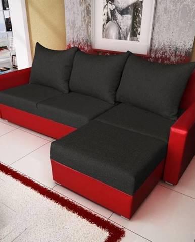Rohová sedačka MALAGA BIS 2, černá látka, červená ekokůže