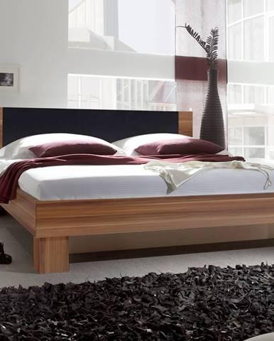 VERA postel 180x200 cm s nočními stolky, červený ořech/černá