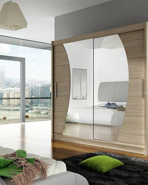 Smartshop Šatní skříň BEGA IX, dub sonoma/zrcadlo