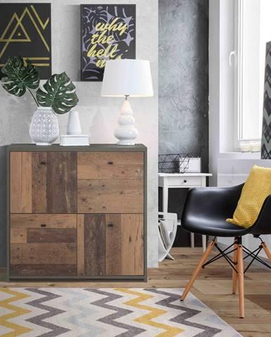 Komoda BEST CHEST SQNK221, beton tmavě šedý/ old wood vintage