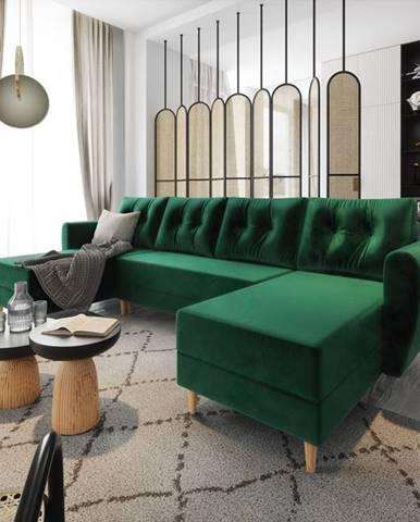Rozkládací rohová sedačka PALERMO ve tvaru U, zelená látka