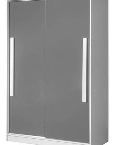 Šatní skříň s posuv. dveřmi GULLIWER 12, bílá/šedý lesk