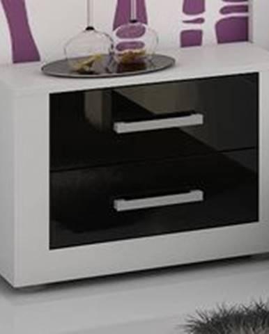 VIKI, noční stolek, bílá/černý lesk