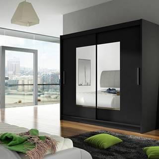 Šatní skříň BEGA VII, černý mat/zrcadlo