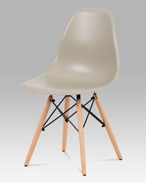 Smartshop Jídelní židle CT-758 LAT, plast latté / masiv buk / kov černý