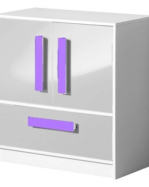 Smartshop Komoda GULLIWER 8, bílá lesk/fialová