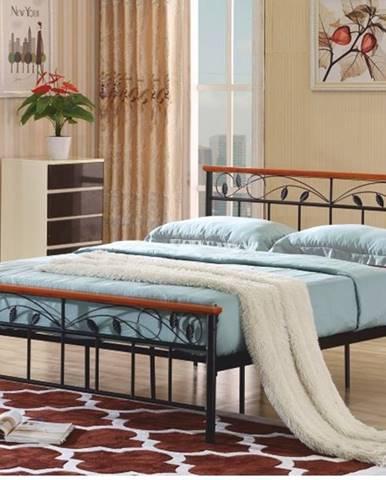 MORENA kovová postel s roštem 160x200 cm, třešeň