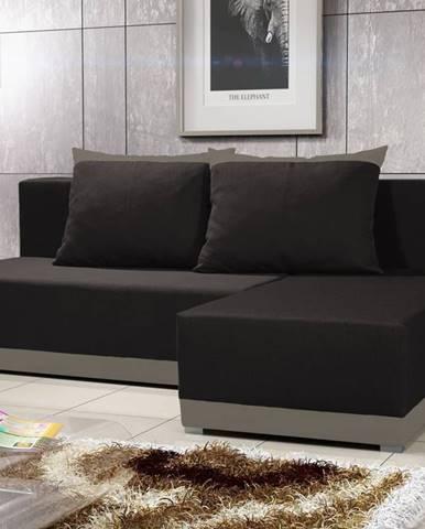 Rohová sedačka BRAGA 3, černá látka/šedá látka