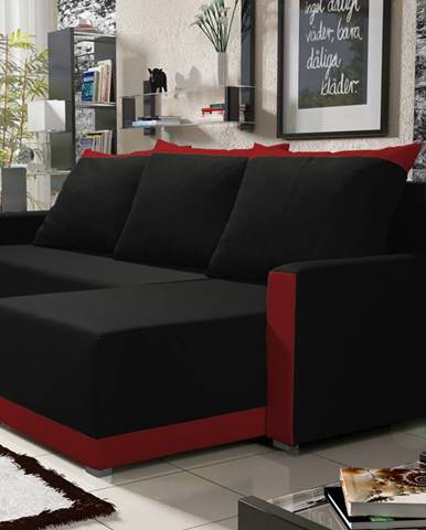 Rohová sedačka BRAGA BIS 5, černá látka/červená látka