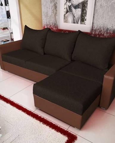 Rohová sedačka MALAGA BIS 7, černá látka/hnědá ekokůže