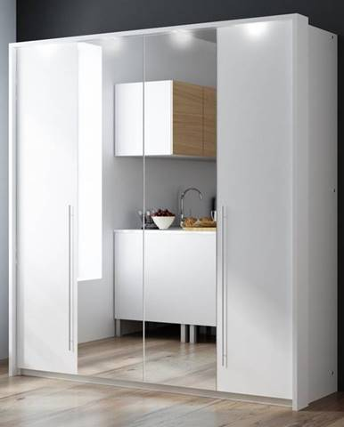 Šatní skříň BREMA 210, bílá/bílá
