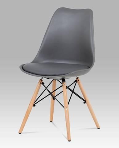 Jídelní židle CT-741 GREY, šedý plast / šedá koženka / natural