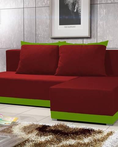 Rohová sedačka BRAGA 4, červená látka/zelená látka