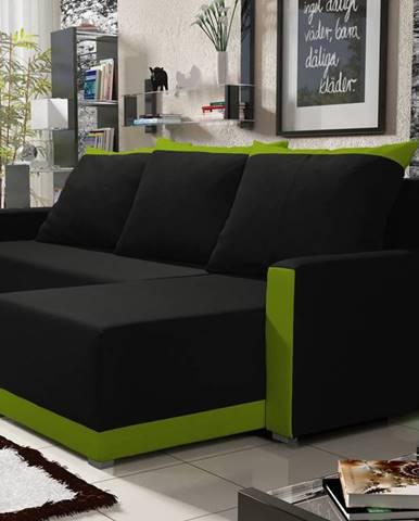 Rohová sedačka BRAGA BIS 4, černá látka/zelená látka