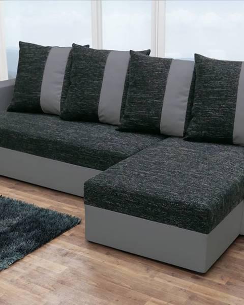 Smartshop Rohová sedačka PRAGA, černá látka/šedá ekokůže