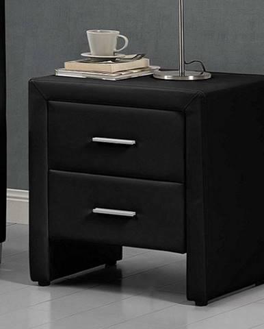 CASTEL čalouněný noční stolek, černá