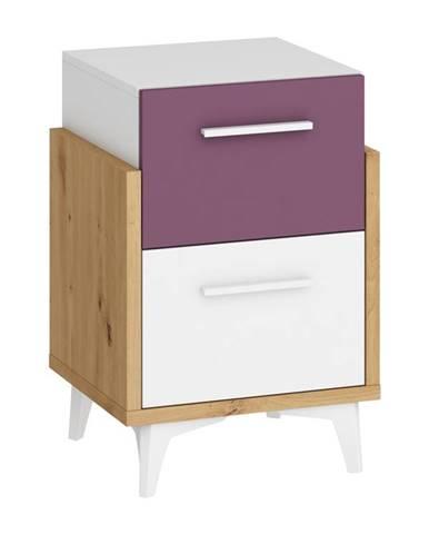 Hey – noční stolek 45, dub artisan/bílá/fialová
