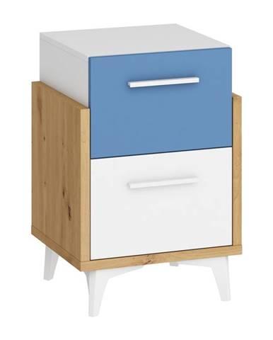 Hey – noční stolek 45, dub artisan/bílá/modrá
