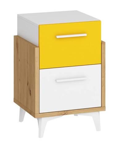 Hey – noční stolek 45, dub artisan/bílá/žlutá