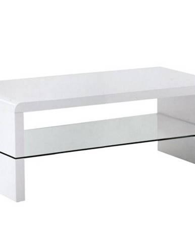 KONTEX konferenční stolek, bílý lesk/sklo