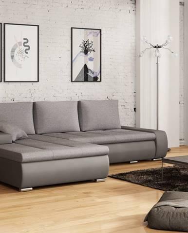 Rohová sedačka TARO 3 univerzální roh, světle šedá látka/tmavě šedá ekokůže