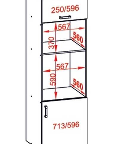 IRIS vysoká skříň DPS60/207O pravá, korpus bílá alpská, dvířka ferro