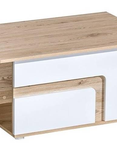 Konferenční stolek APETTITA 18, dub jasný/bílá