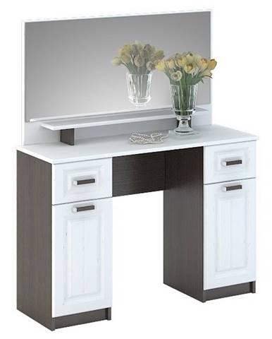PRAGA CT-900 toaletní stolek se zrcadlem, wenge/bílá (PRAGA ST900-A1 TOALETKA SE ZRCADLEM bílé dřev)