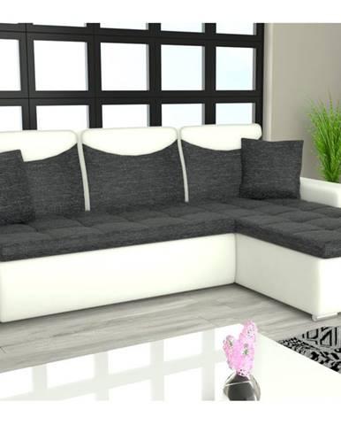 Rohová sedačka YORK L univerzální, černá látka/bílá ekokůže