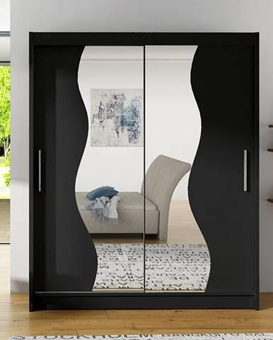 Šatní skříň BEGA S, černá/zrcadlo