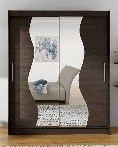 Šatní skříň BEGA S, choco/zrcadlo