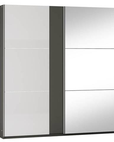 Šatní skříň TUNIS 200, grafit/bílá lesk