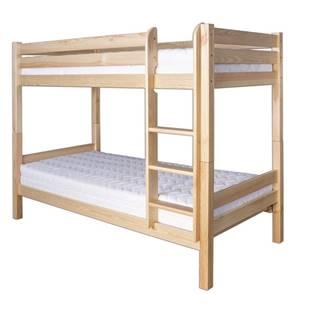 Patrová postel LK136, 80x200 + 80x200, masiv borovice