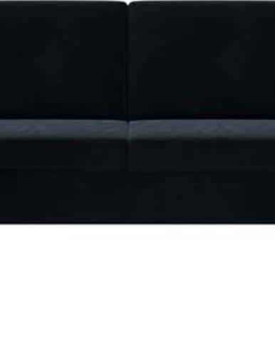 Tmavě modrá sametová rozkládací pohovka do