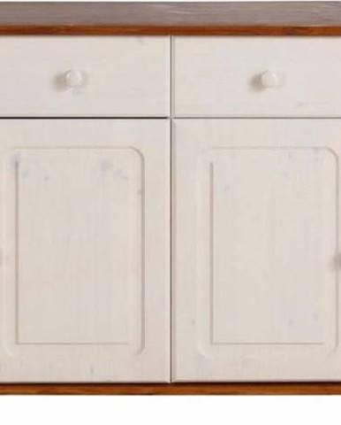 Bílá čtyřdveřová komoda s hnědými detaily z masivního borovicového dřeva Støraa Ella