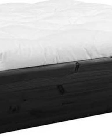 Černá dvoulůžková postel z masivního dřeva s úložným prostorem a futonem Comfort Karup Design, 160x200cm