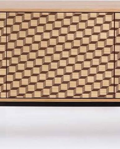 Komoda v dubovém dekoru Woodman Camden Cube, 175x75cm