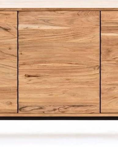 Světle hnědá komoda z akáciového dřeva La Forma Delsie, 147 x 81 cm