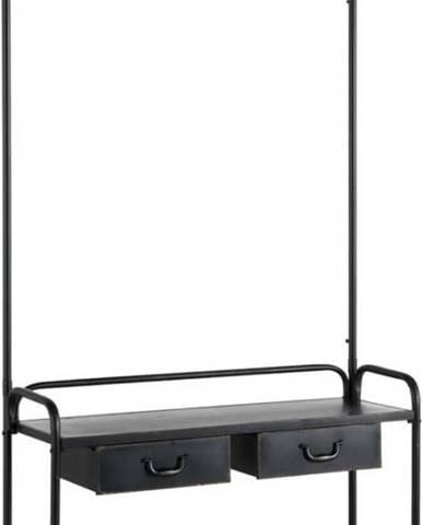 Černý kovový věšák s lavicí a botníkem Geese Gerome