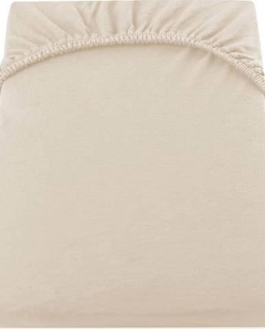 Béžové elastické bavlněné prostěradlo DecoKing Amber Collection, 80/90 x 200 cm