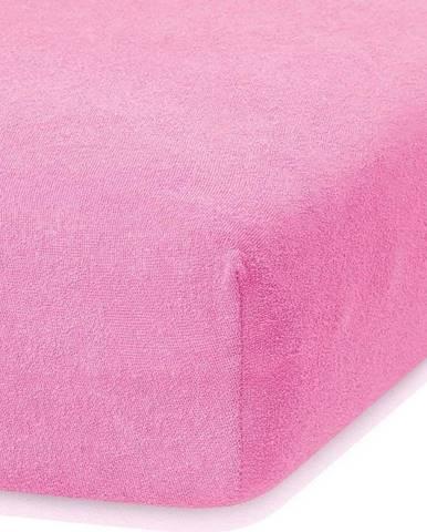 Tmavě růžové elastické prostěradlo s vysokým podílem bavlny AmeliaHome Ruby, 160/180 x 200 cm
