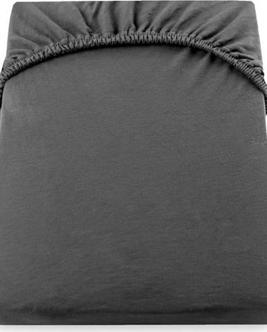 Tmavě šedé elastické bavlněné prostěradlo DecoKing Amber Collection, 220 až 240 x 200 cm