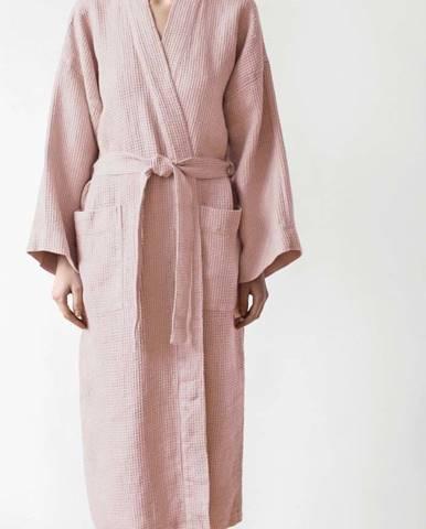 Unisex pudrově růžový župan z bavlny a lnu Linen Tales, vel. XL