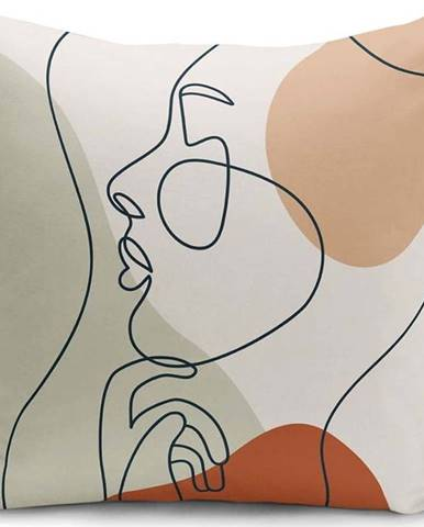 Povlak na polštář Minimalist Cushion Covers Pastel Drawing Face, 45 x 45 cm