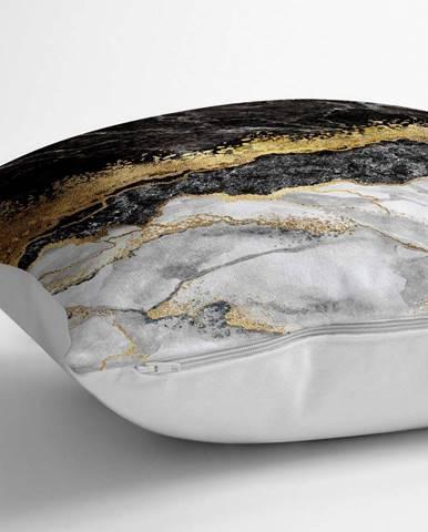 Povlak na polštář s příměsí bavlny Minimalist Cushion Covers Dark Marble,70x70cm